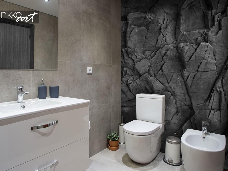 Badkamer met Fotobehang Zwarte Stenen