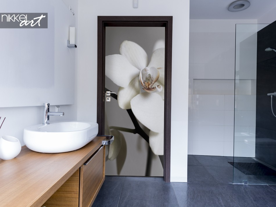 Badkamer met Deursticker Orchidee