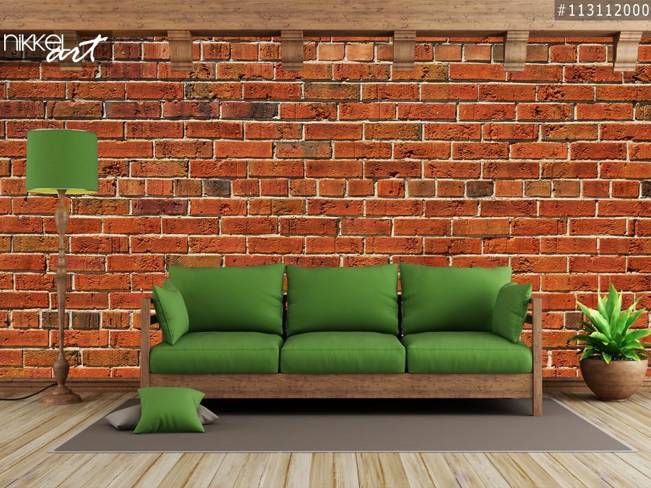 Fotobehang Rode bakstenen muur