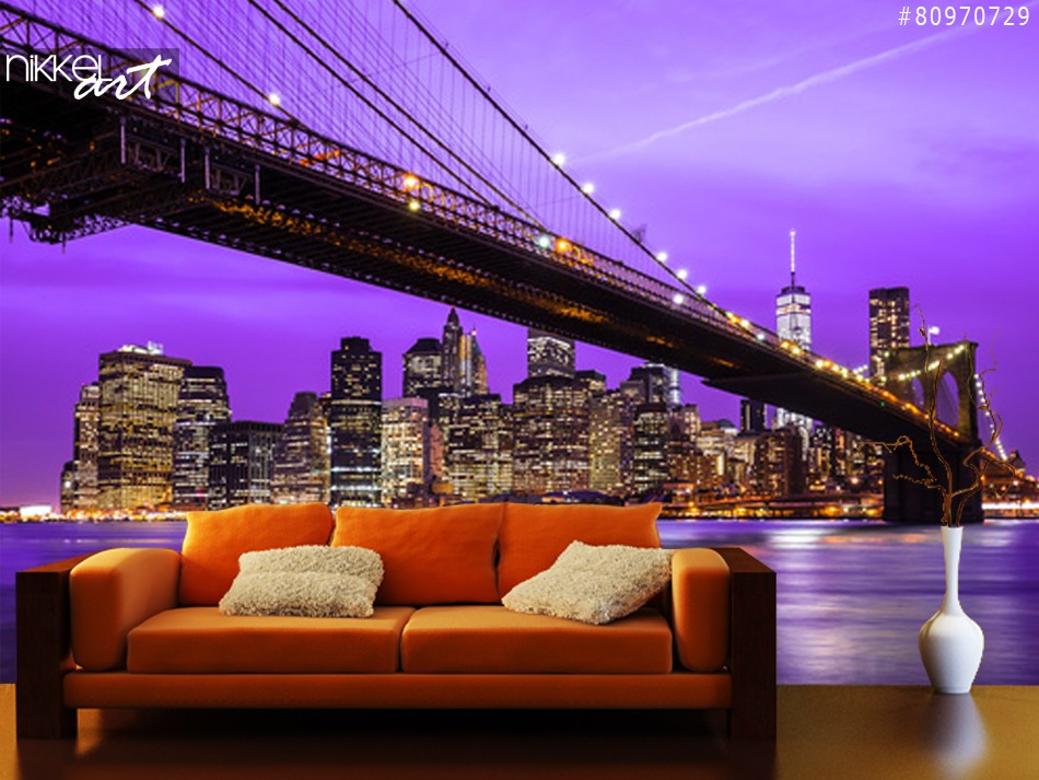 NYC brooklyn brug en skyline