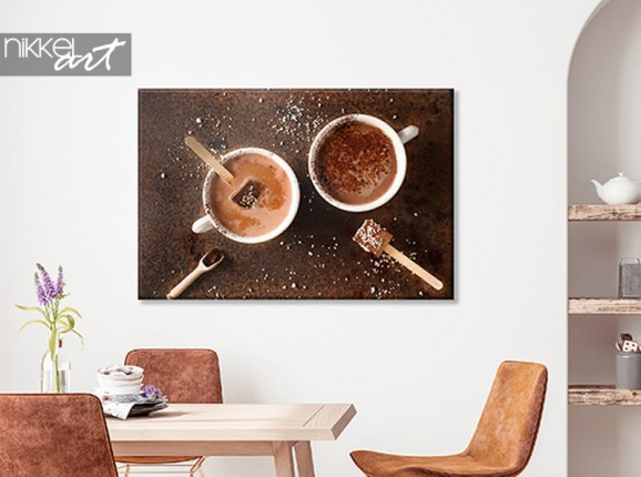 Canvas met warme chocomelk