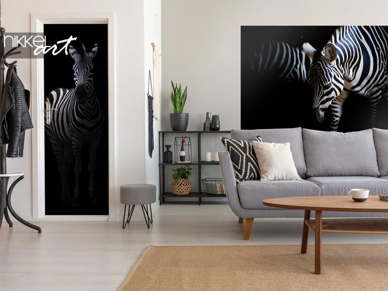 Zebra op deur- en muursticker