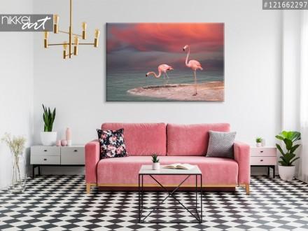 Foto op Canvas Roze flamingo s