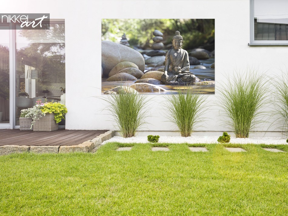 Tuin met Foto op Aluminium Boeddha