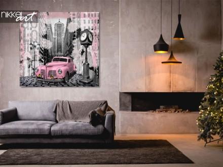 Foto op aluminium Vintage roze auto