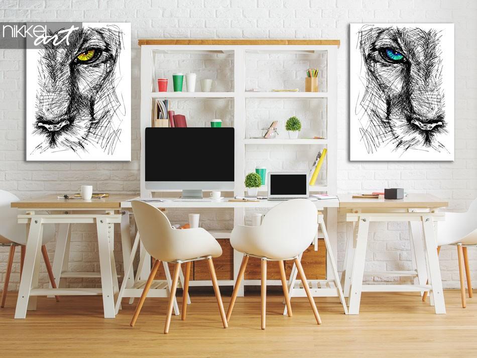 Foto op Canvas Hand getrokken schets van een leeuwen