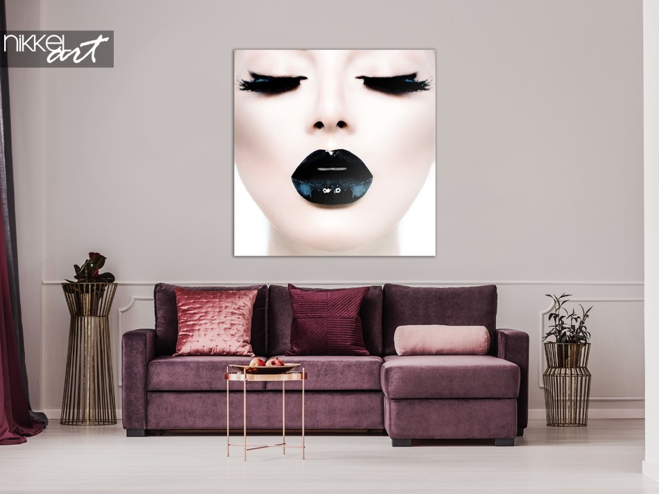 Foto op Plexiglas Dame met Zwarte Lippen