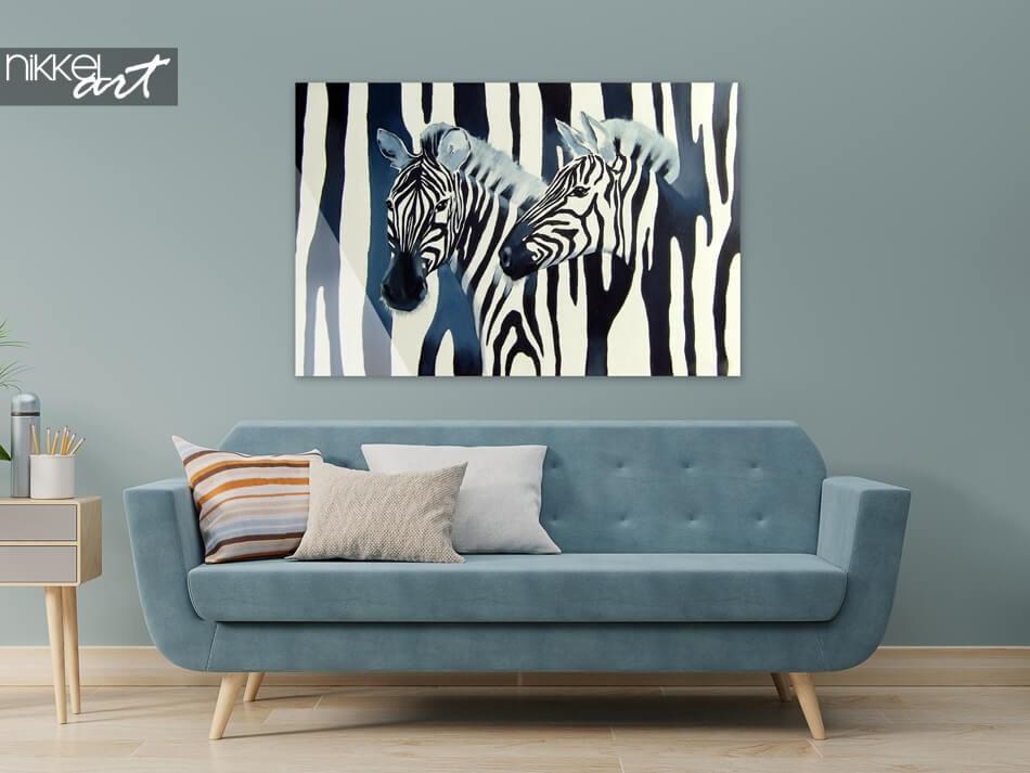 Zebra's op plexiglas