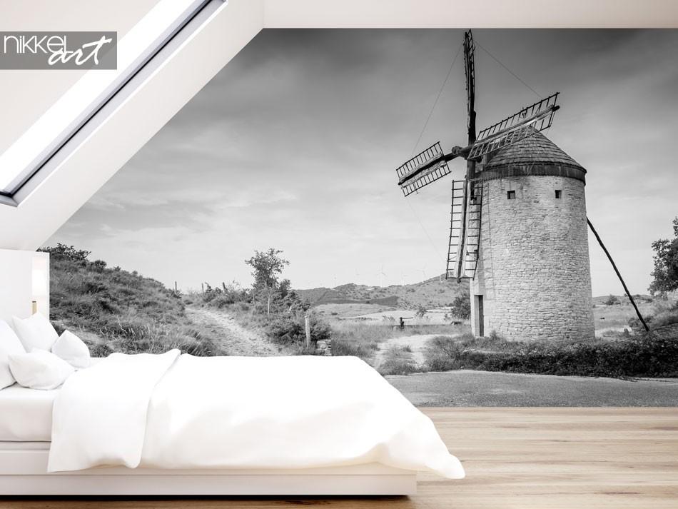 Fotobehang van een molen in zwart-wit effect, Antiguo Molino de Guerinda