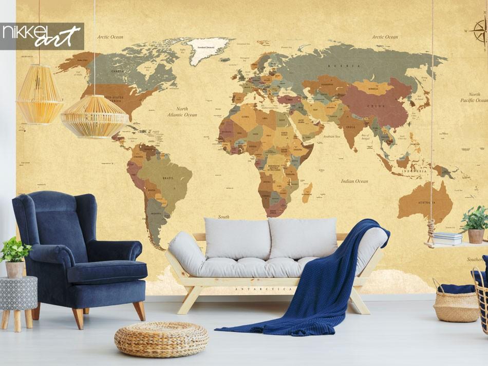Fotobehang vintage wereldkaart