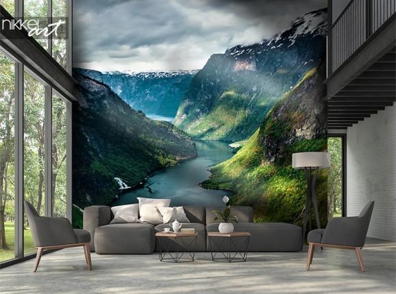 Bergvallei op fotobehang