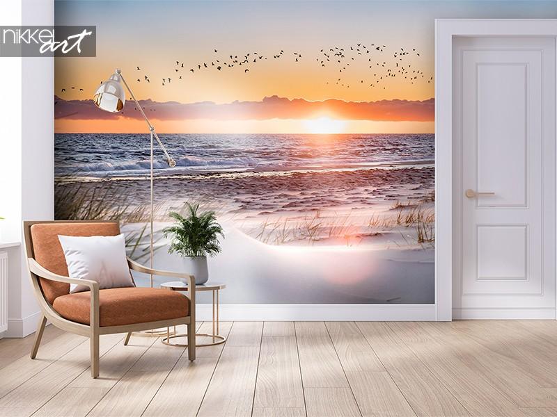 Zonsondergang op fotobehang