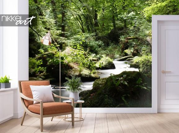 Fotobehang met groen bos