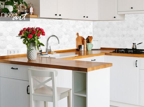 Glazen keuken achterwand met honinggraatmotief