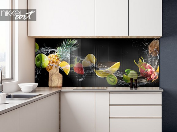 Glazen keukenachterwand met fruit