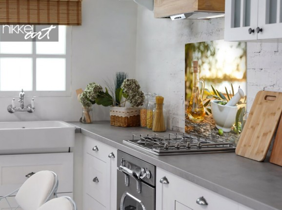 Glazen keuken achterwand olijfgaard