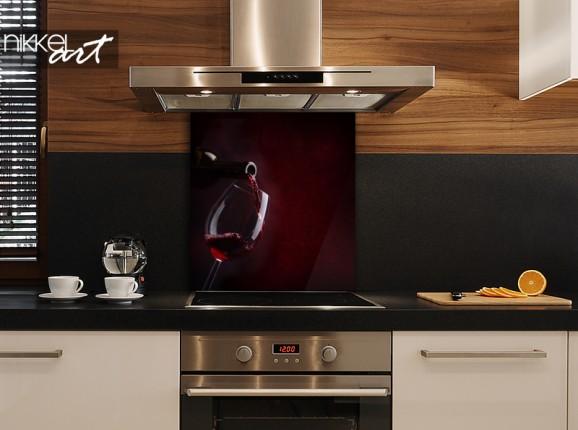 Glazen keukenachterwand rode wijn