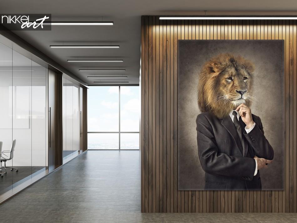 Kantoor met Foto op Canvas Hipster Leeuw