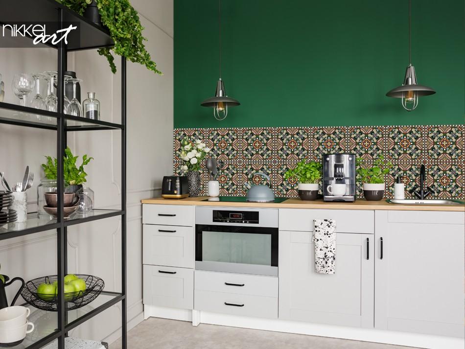Keuken met Glazen Achterwand Traditioneel Patroon
