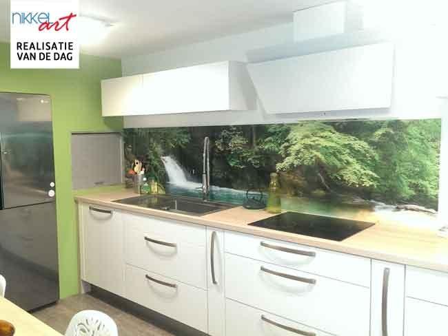 Spatscherm Keuken Glas : Keuken achterwand glas met print watervallen