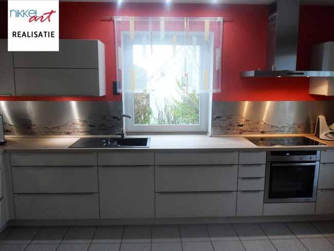 keuken foto achterwand geborsteld aluminium