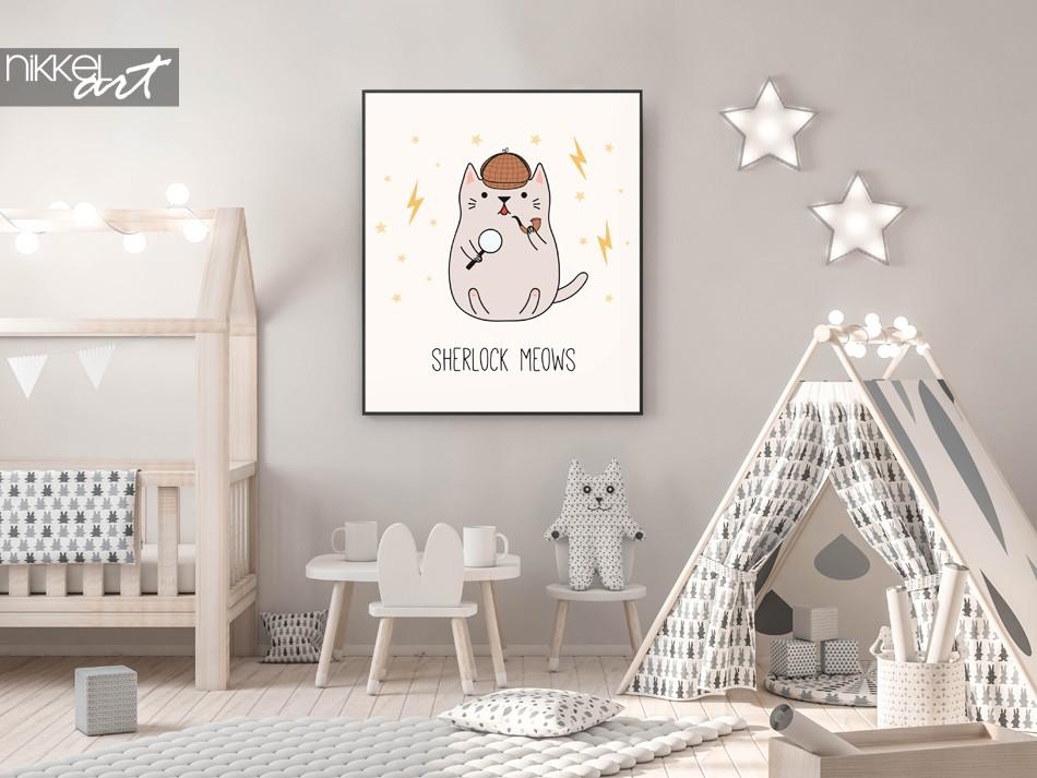 Kinderkamer met Poster Illustratie Detective Katje