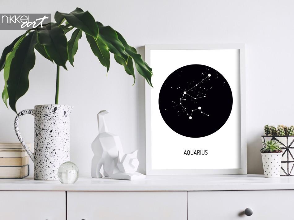 Strak Modern Interieur met Zodiac Poster