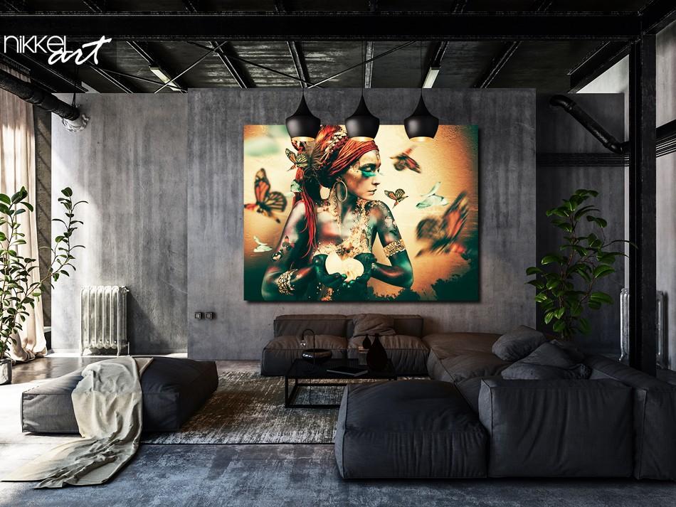 Kunst foto op Plexiglas Woman with butterflies Summon