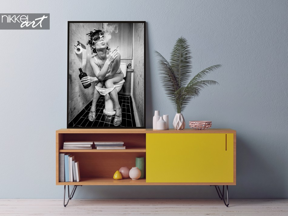Poster met Stoere Foto Rock N Roll Dame