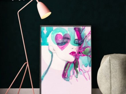 Poster Abstracte geïllustreerde mooie vrouw
