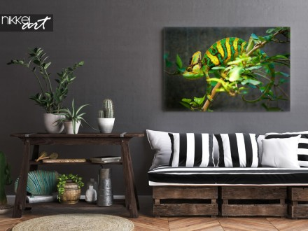 Rustiek Interieur met Foto Kameleon op Canvas