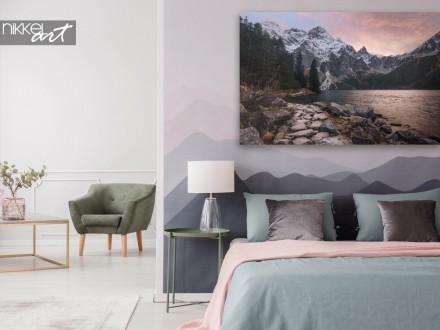 Slaapkamer met Canvas Dromerig Gebergte bij Zonsondergang