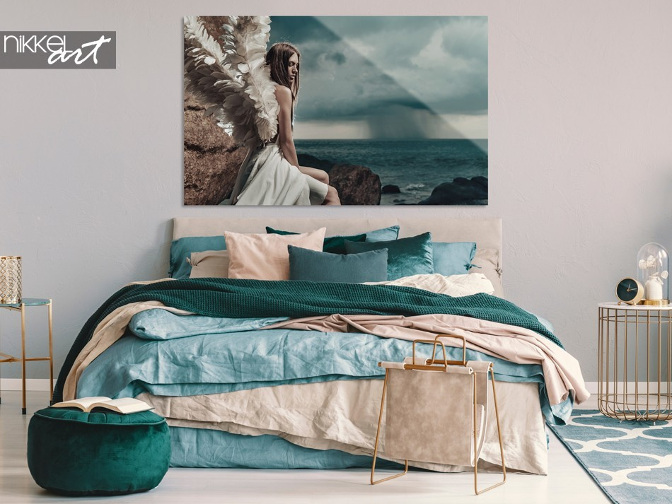 Slaapkamer met Foto Engelen Dame op Plexiglas