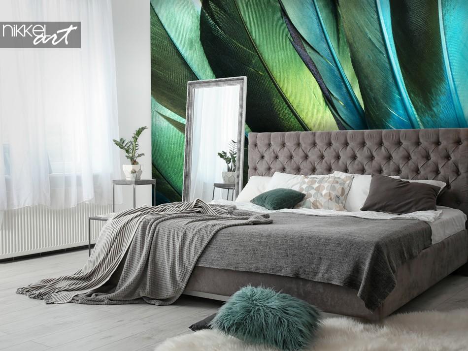 Slaapkamer met Fotobehang Veren