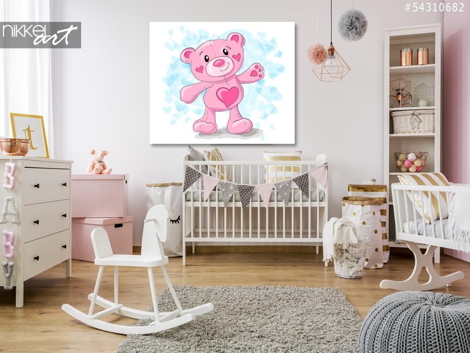 Foto op Plexiglas Cute teddy met harten cartoon