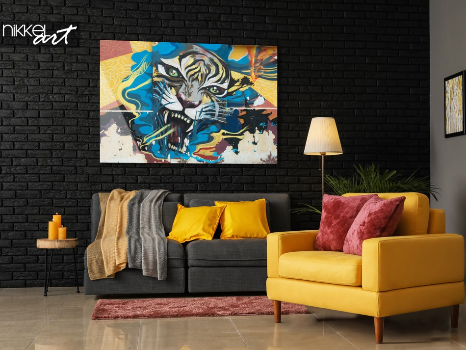 Woonkamer met Foto Graffiti Tijger op Plexiglas