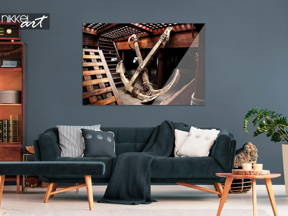 Woonkamer met Foto Schip op Plexiglas