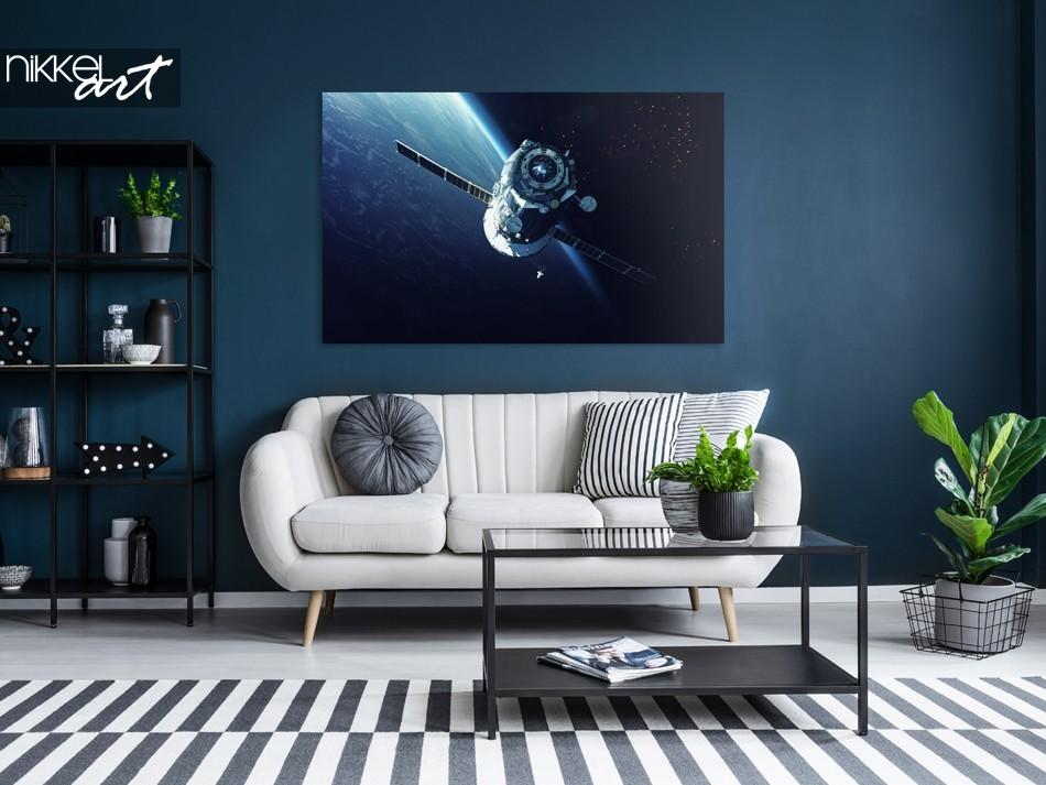 Woonkamer met Foto Spacecraft op Aluminium