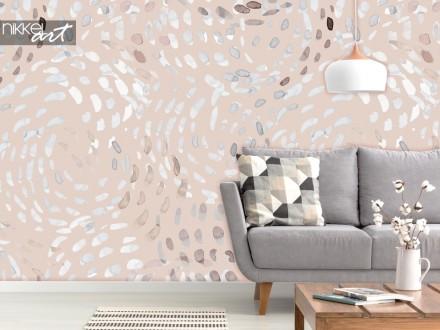 Woonkamer met Fotobehang Abstracte Swirls