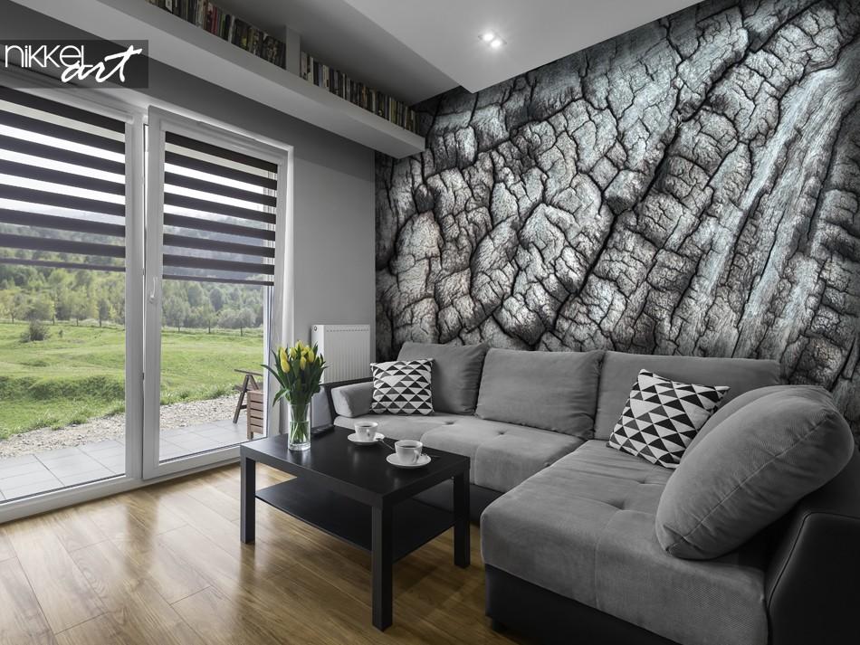 Woonkamer met Fotobehang Boom Textuur