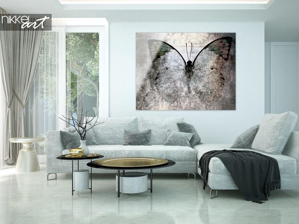 Woonkamer met Vlinder in Grunge op Plexiglas
