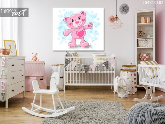 Foto op Plexiglas Cute teddy met harten cartoon