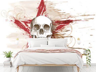 Skull sketch & red grunge star, floral calligraphy ornament, wat