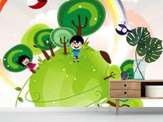 fantasy landscape with kids vector