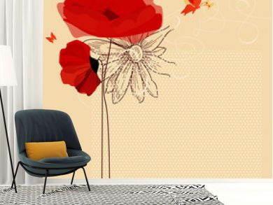Floral invitation, poppies and butterfly vector