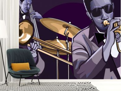 jazz band with trombonne trumpet double bass and drum