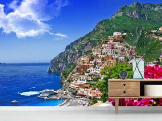 beautiful scenery of amalfi coast of Italy, Positano.