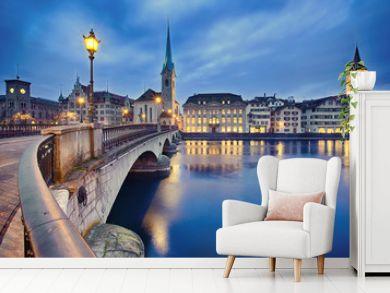 cityscape of night Zurich, Switzerland