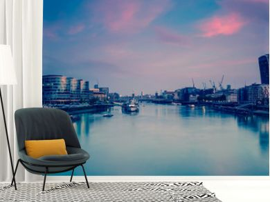 Panoramic view on London and Thames at twilight, from Tower Brid