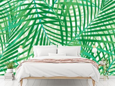 Green palm leaves seamless pattern.